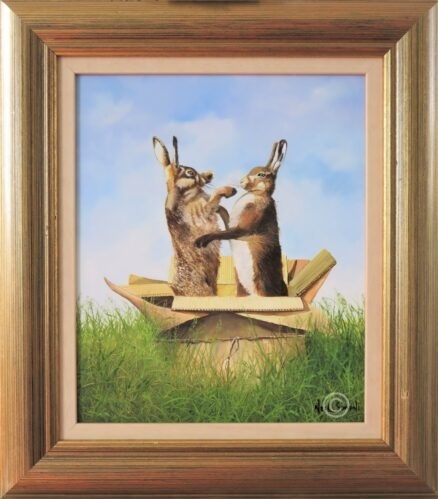 Hares Boxing Original Painting