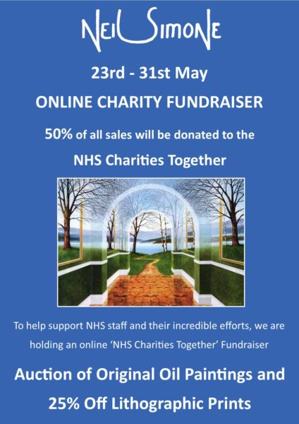 Online Charity Fundraiser - 21st to 31st May - 50% of all sales will be donated to NHS Charities Together - To help support NHS staff and their incredible efforts, we are holding an online fundraiser - Auction of Original Paintings and 25% Off Lithograph Prints